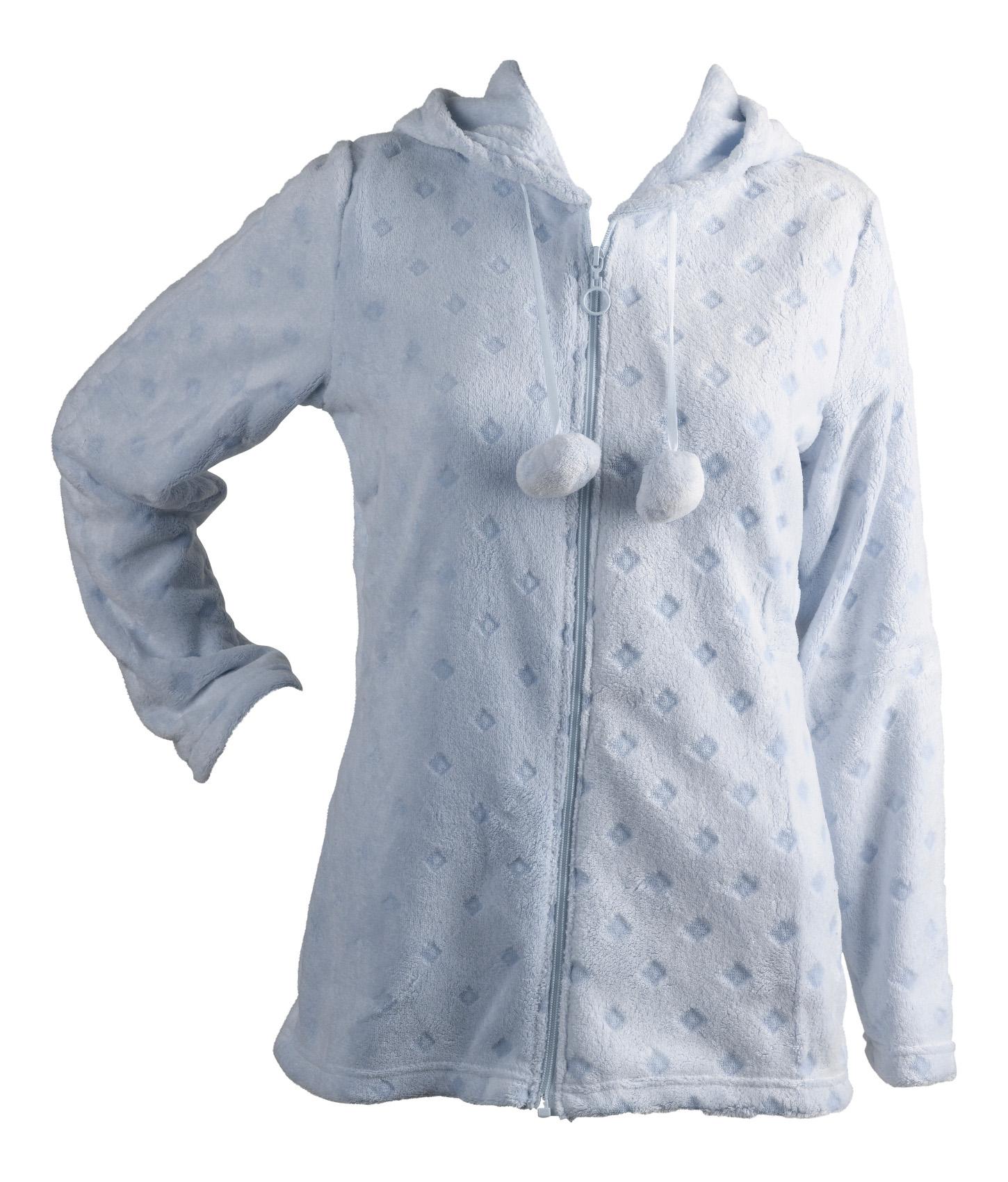 b01a85c1504 Womens Soft Fleece Bed Jacket Ladies Hooded Zip Up Diamond Design House Coat