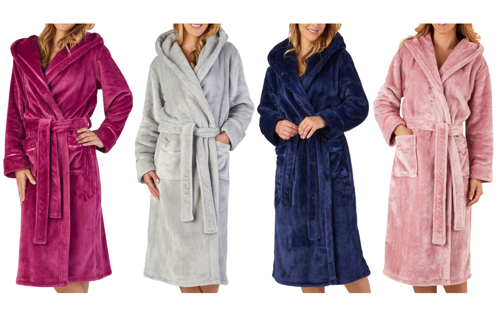 Details about Slenderella Womens Luxury Thick Flannel Fleece Dressing Gown  Hooded Bathrobe 85e90d947