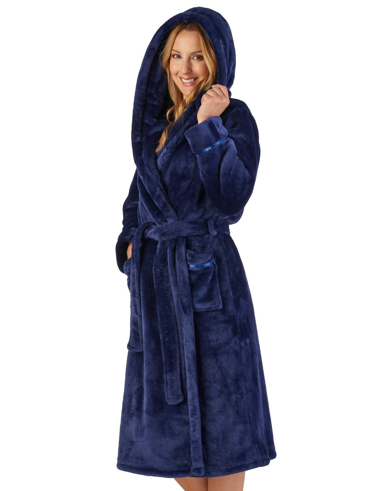 Détails sur Slenderella Femmes Luxe Épais Flanelle Polaire Habillage Robe à Capuche Peignoir