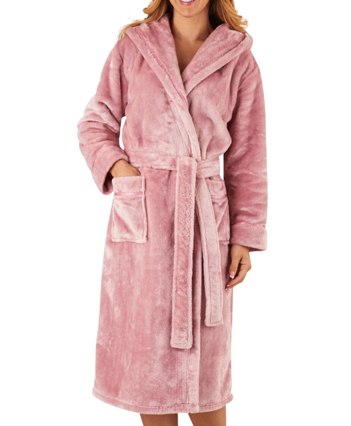 619c95ecad2 Slenderella Womens Luxury Thick Flannel Fleece Dressing Gown Hooded ...