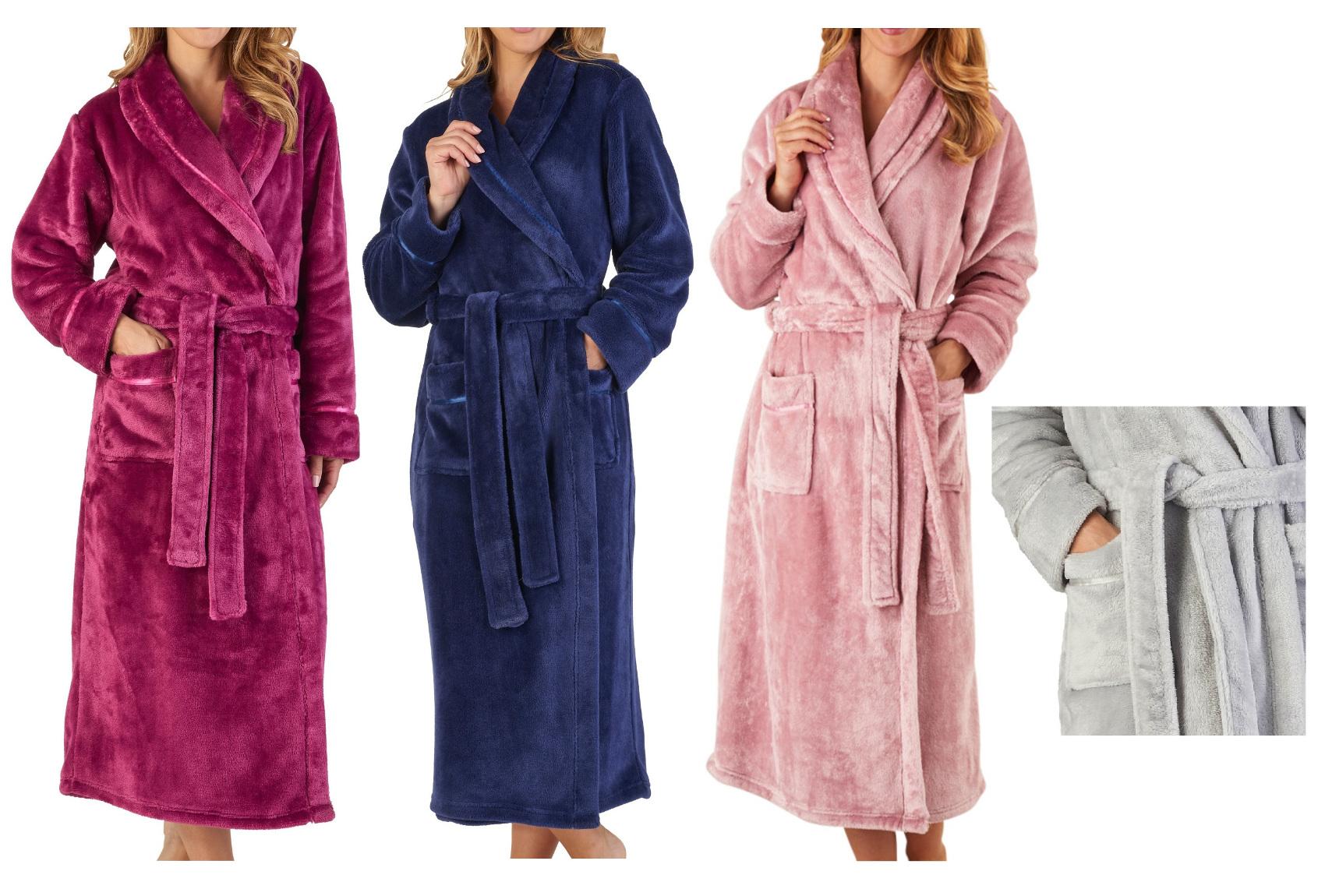 Slenderella Womens Luxury Thick Flannel Fleece Dressing Gown Shawl ... 0960cff83