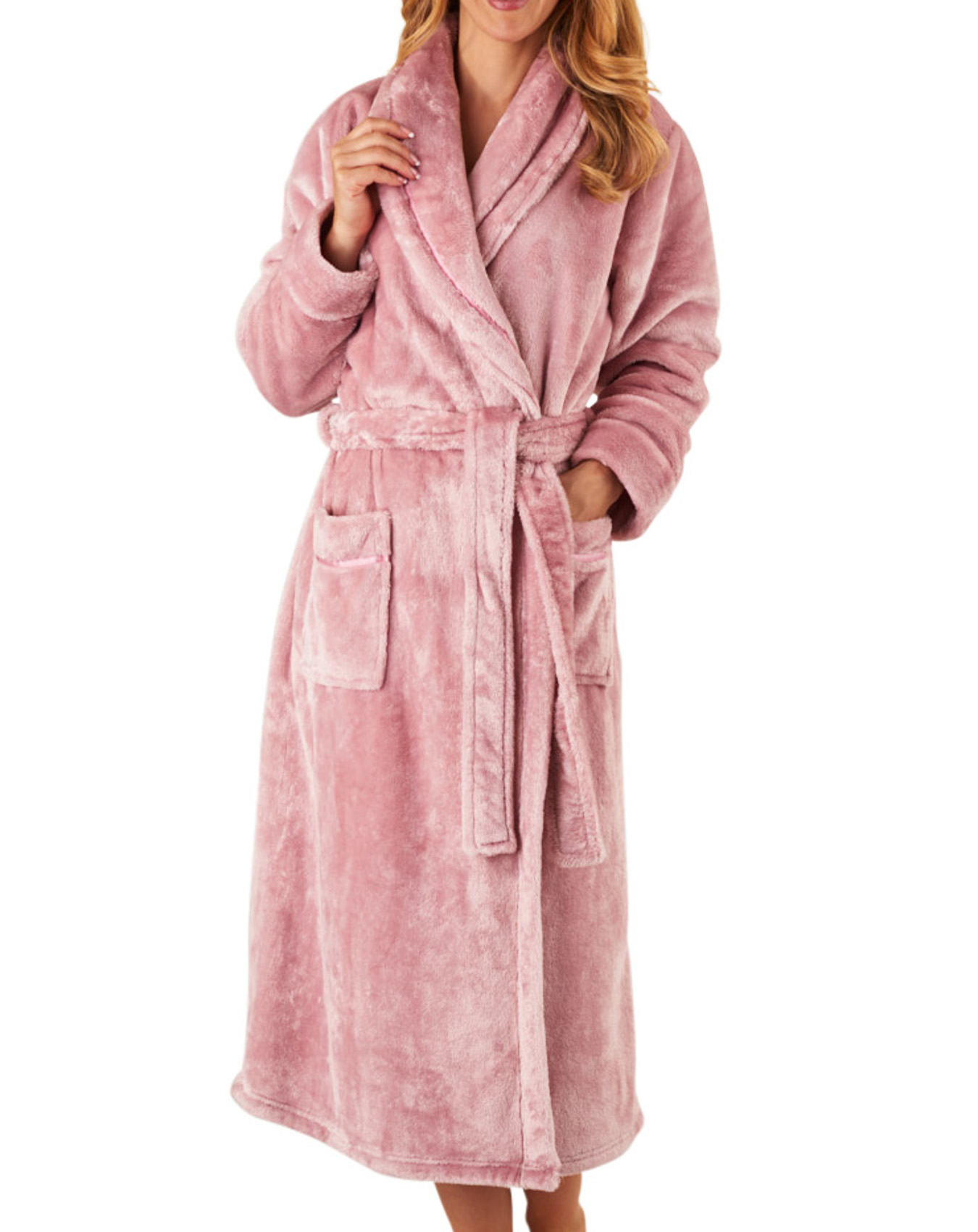Dressing Gown Super Soft Flannel Fleece Ladies Shawl Collar Slenderella  Bathrobe 7441dd58c