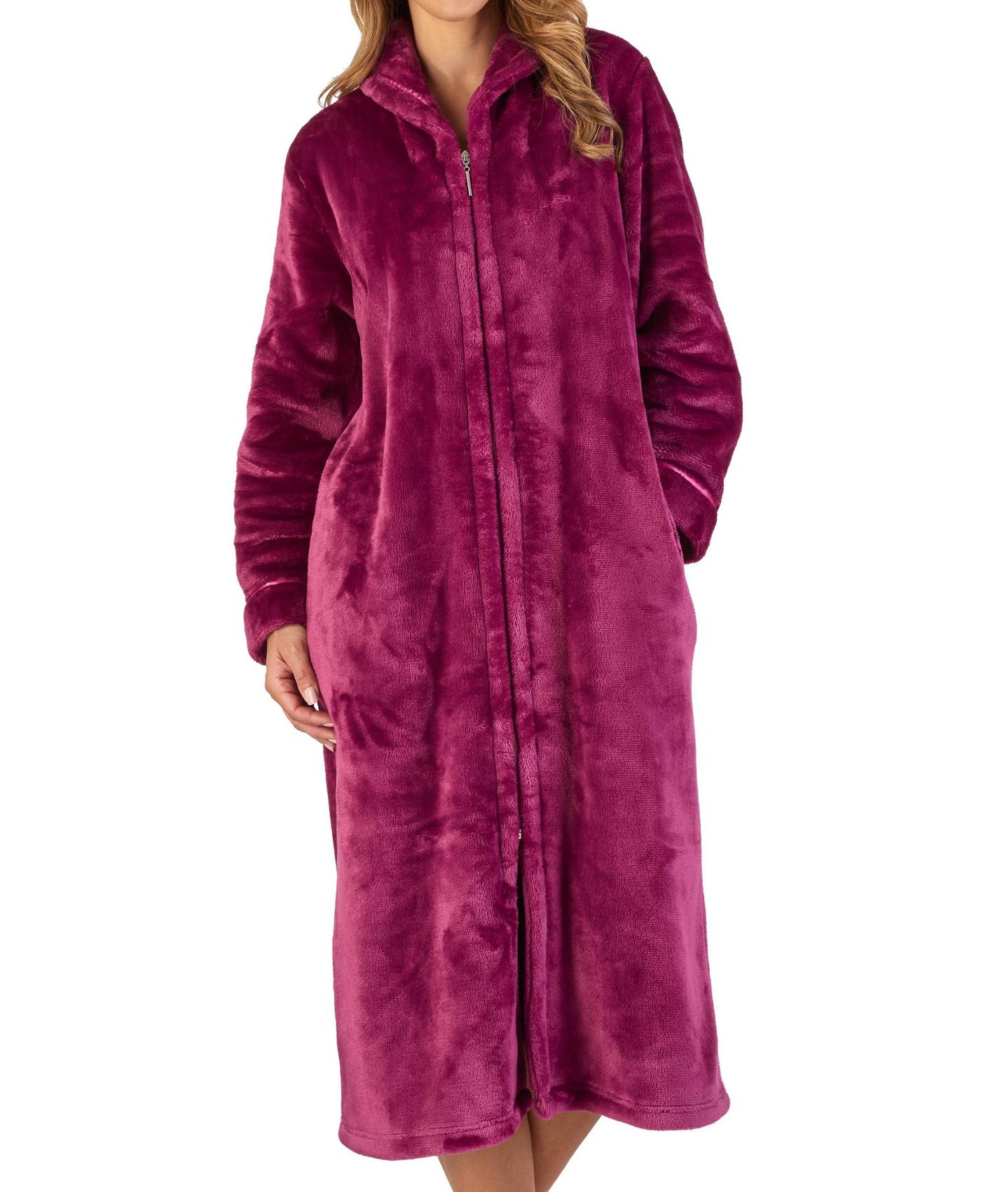 Slenderella Womens Luxury Thick Flannel Fleece Dressing Gown Zip Up ... 5efc31a0a