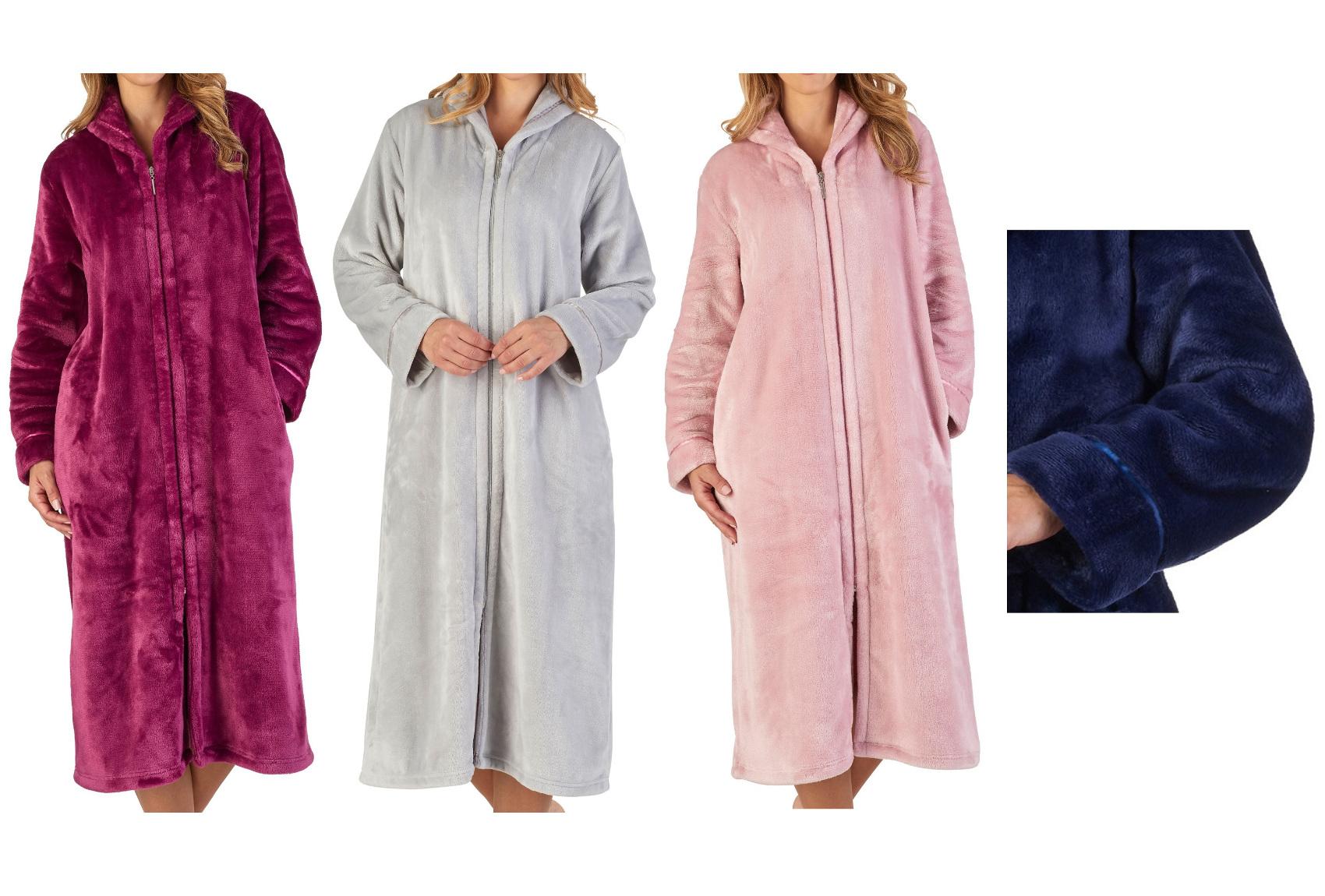 15ee879d53 Dressing Gown Super Soft Flannel Fleece Ladies Zip Through Slenderella  Bathrobe