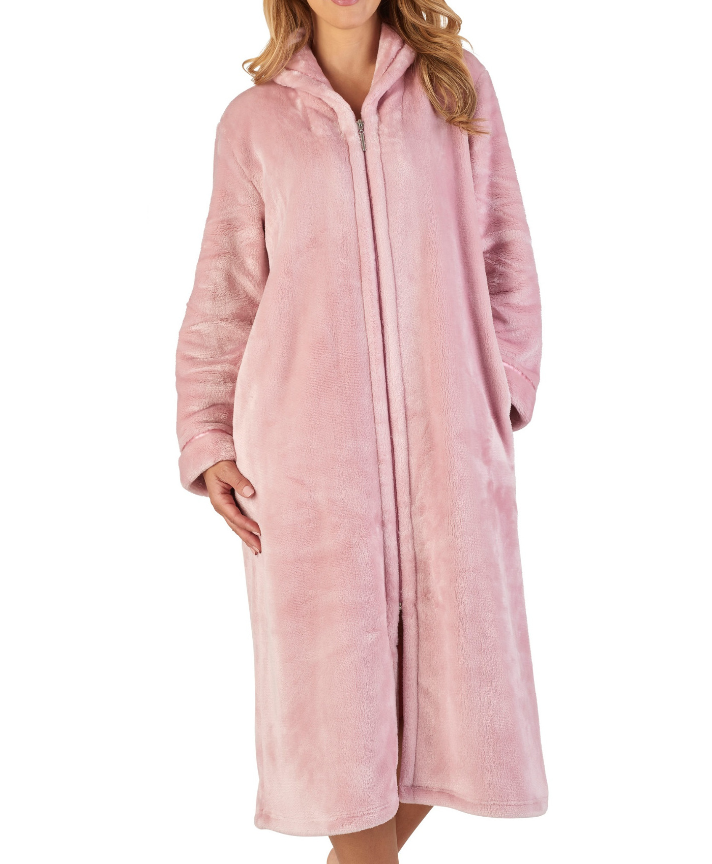 Slenderella Womens Luxury Thick Flannel Fleece Dressing Gown Zip Up ... 63bd03705