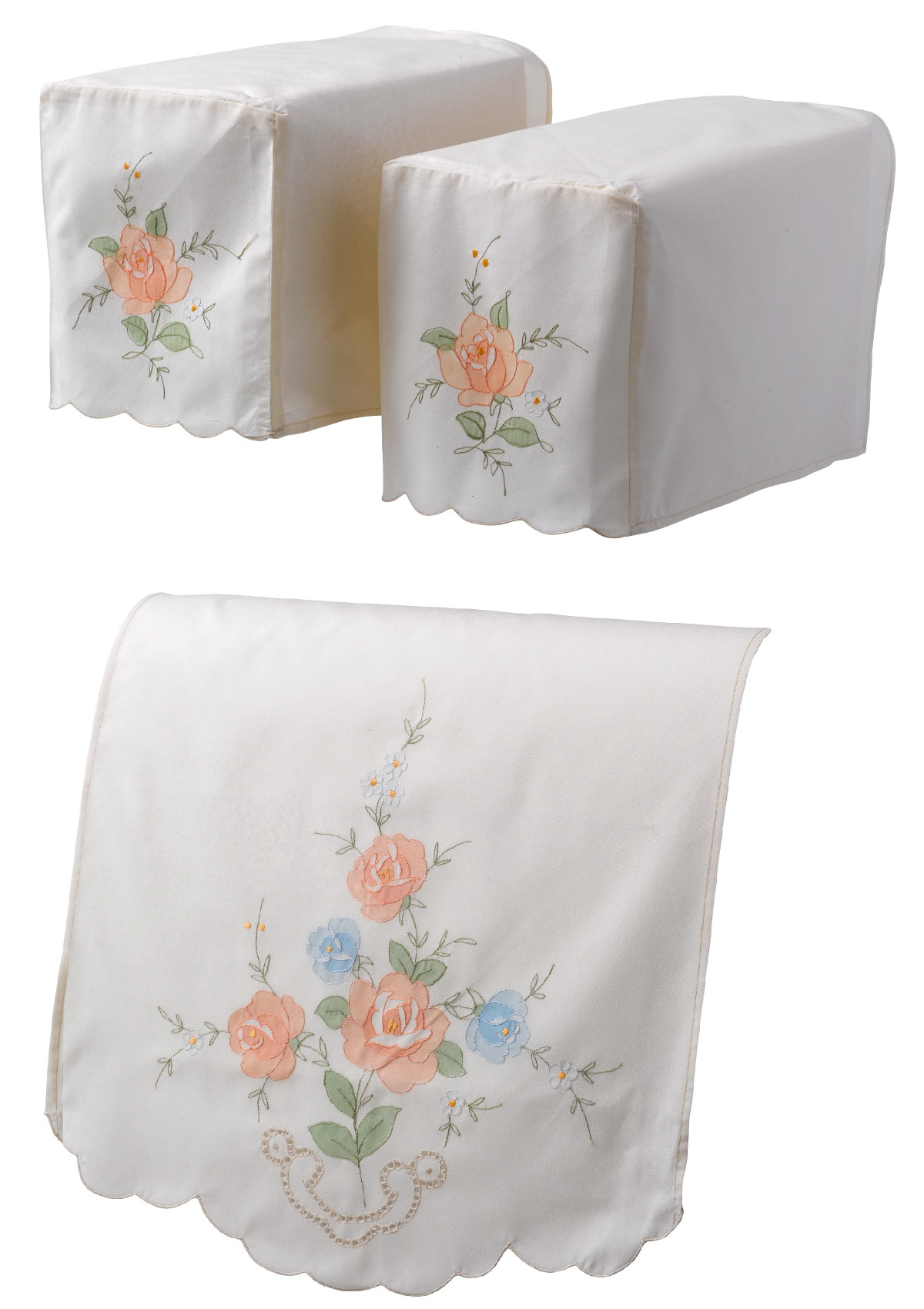 Classic Home Store Traditional Floral Chair Back Embroidered Flower Antimaccasar Scalloped Furniture Protector