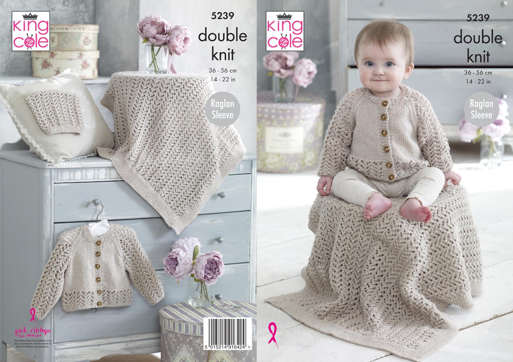 Baby Knitting Pattern Lacy Raglan Sleeve Sweater /& Cardigans King Cole DK 4917