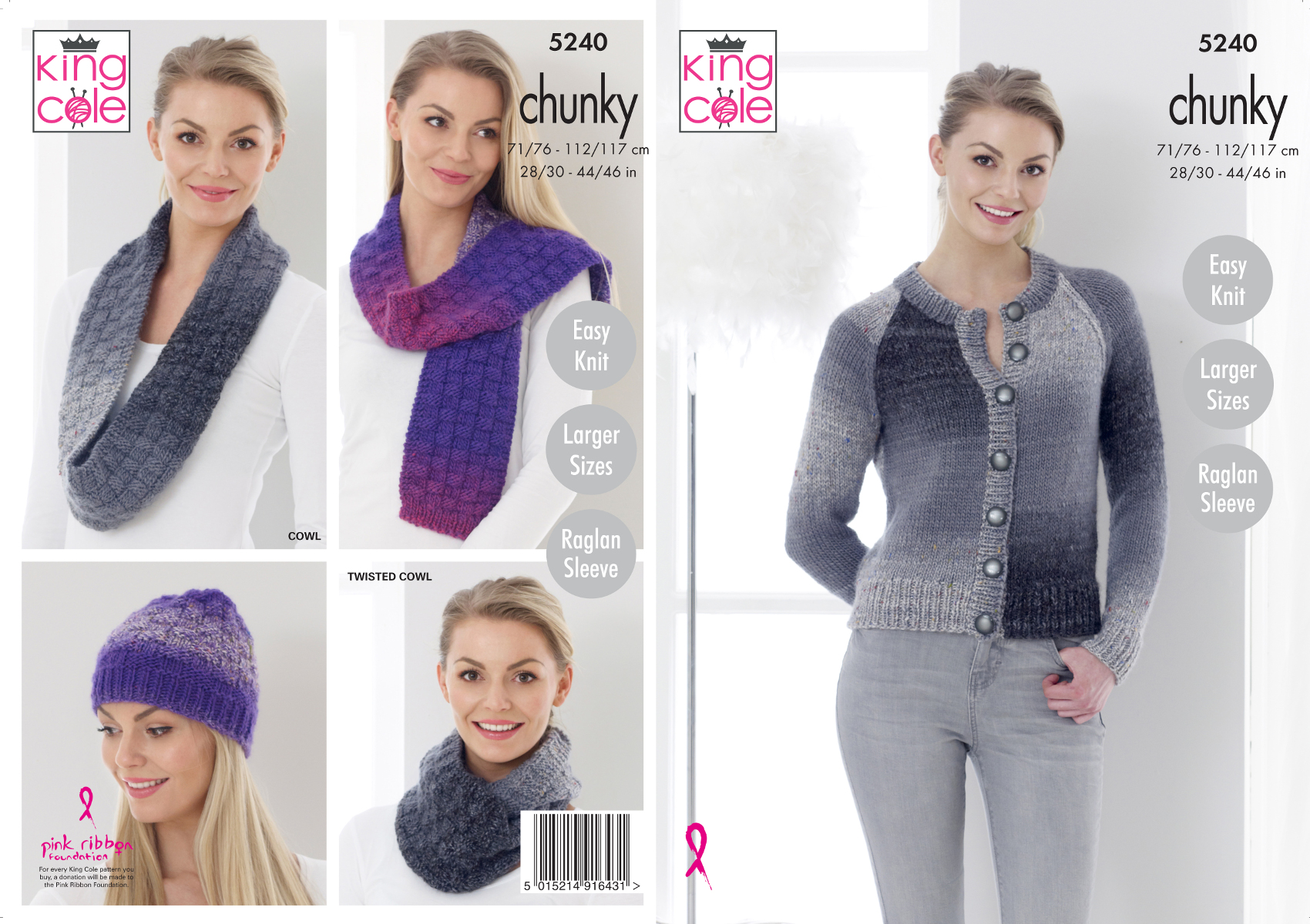 super chunky knitting scarf cowl hat and sweater pattern  5195 by king Cole
