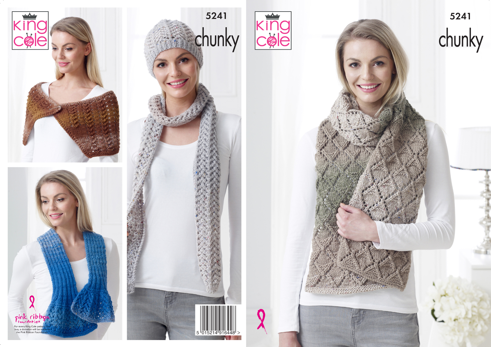 Womens Accessories Chunky Knitting Pattern Lacy Hat Scarf Wrap