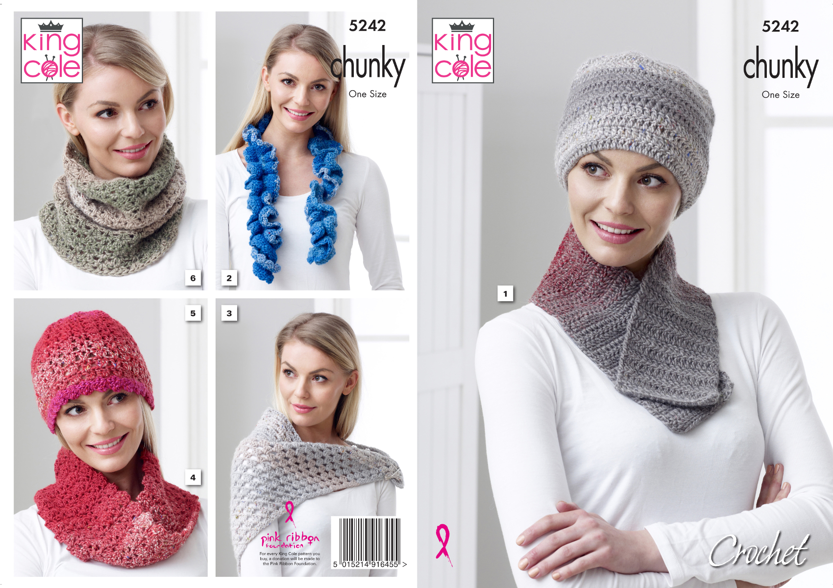 Original Knitting Pattern Ladies Chunky Hats /& Scarves King Cole 3879