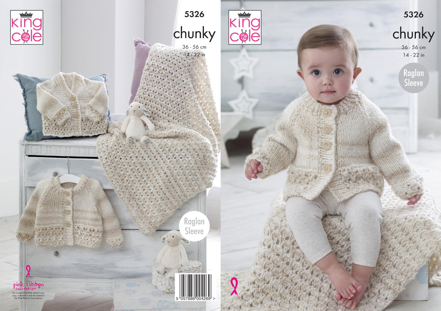 King Cole Baby Chunky Knitting Pattern Raglan Sleeve Cardigans /& Blanket 5326