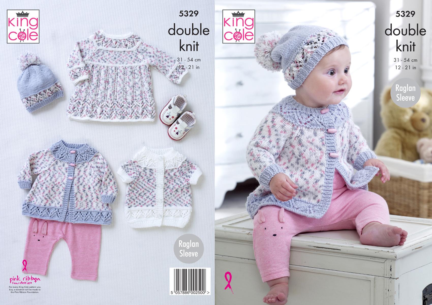 6caf48844b0c6 Baby Double Knitting Pattern Raglan Dress Coat Cardigan   Hat King ...