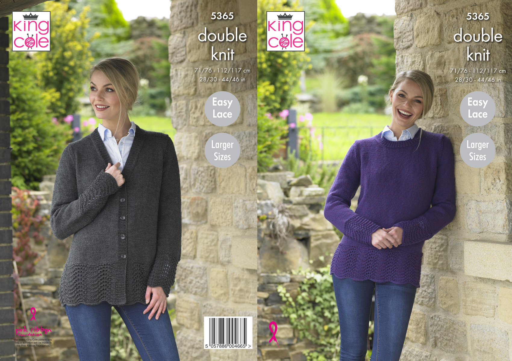 Lacy Detail Sweater /& Cardigan Womens Double Knitting Pattern King Cole 4983