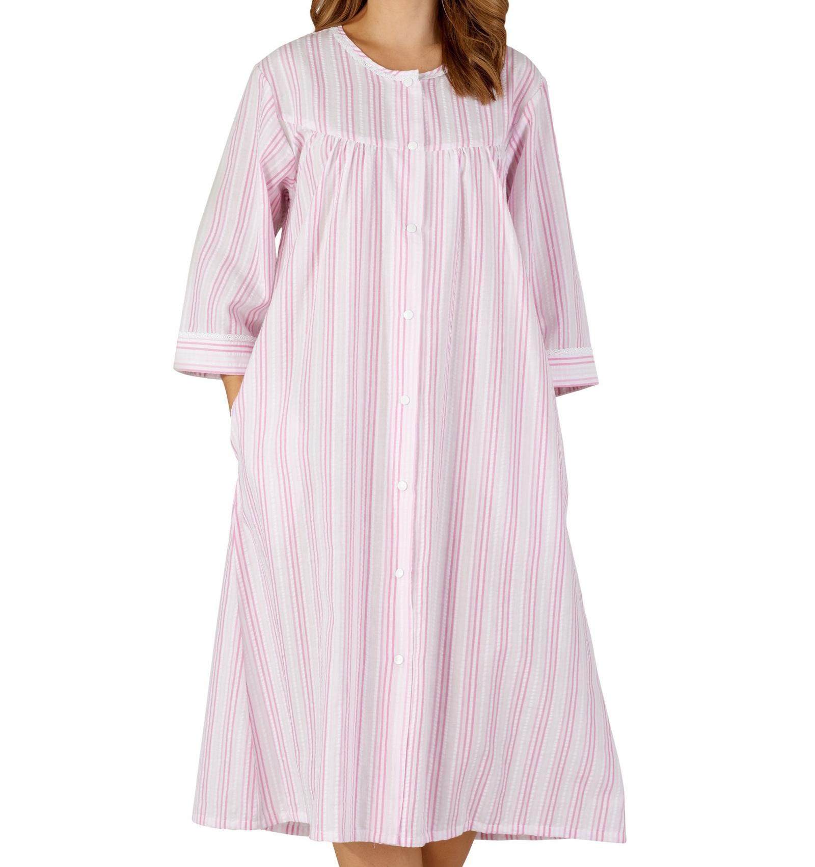 Bathrobe Button Poppers Womens Seersucker Stripe Concealed Pocket Dressing Gown