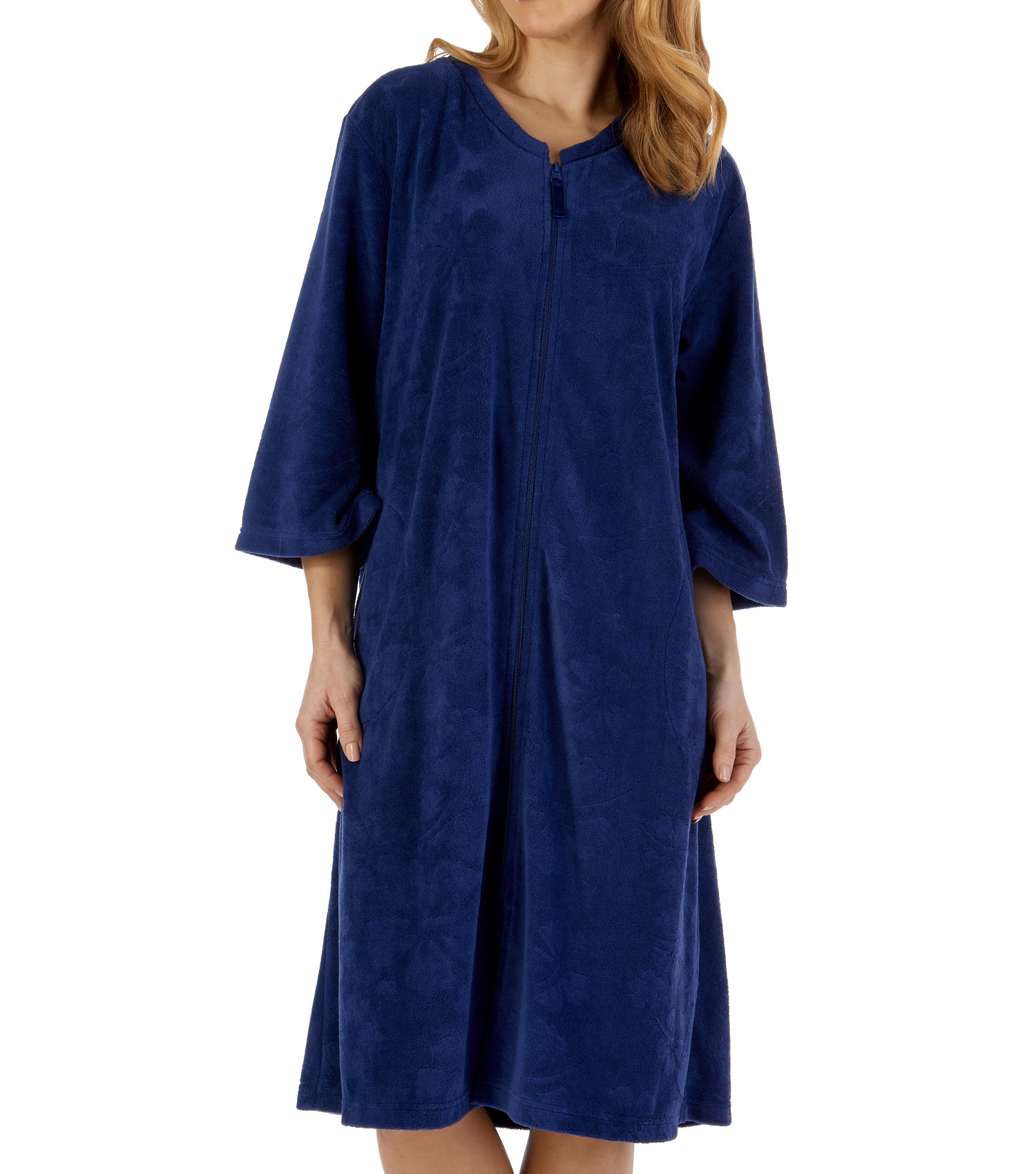 Navy Lilac Slenderella Ladies Floral Embossed 3//4 Sleeve Zip Up Dressing Gown Robe Blue Pink and White