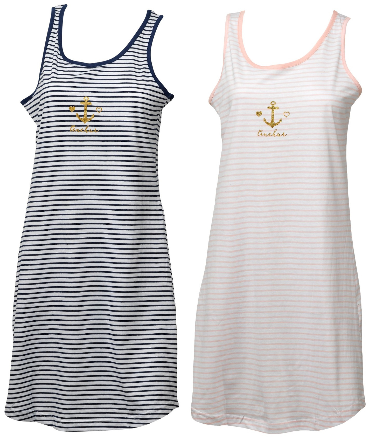 huge selection of 102dd 7723a Details zu Damen Gold Anker Nachthemd Damen Trikot Baumwolle Ärmellos  Gestreift Nachthemd