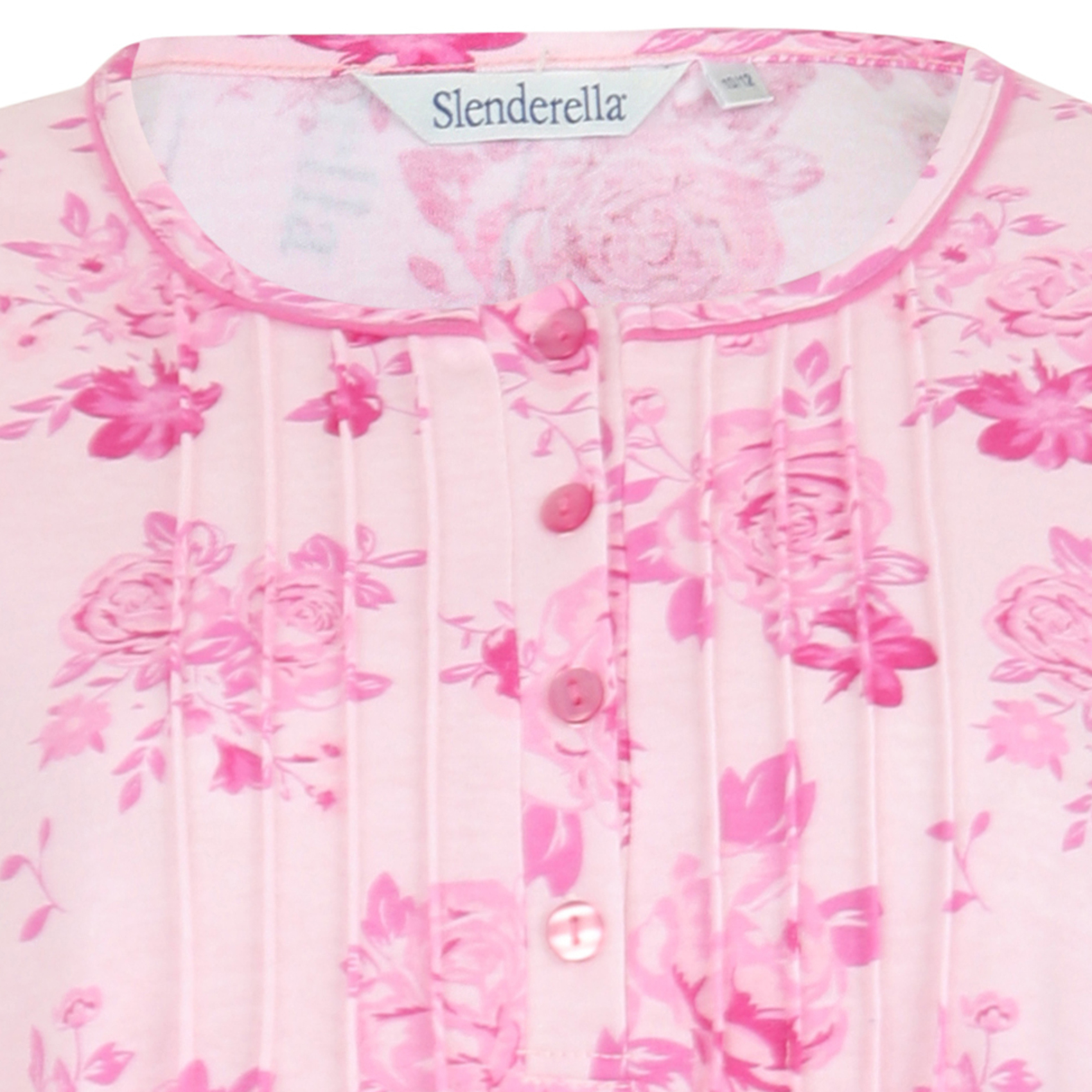 Ladies Slenderella Floral Nightdress Long Sleeved Jersey Cotton Lace Trim Nighty