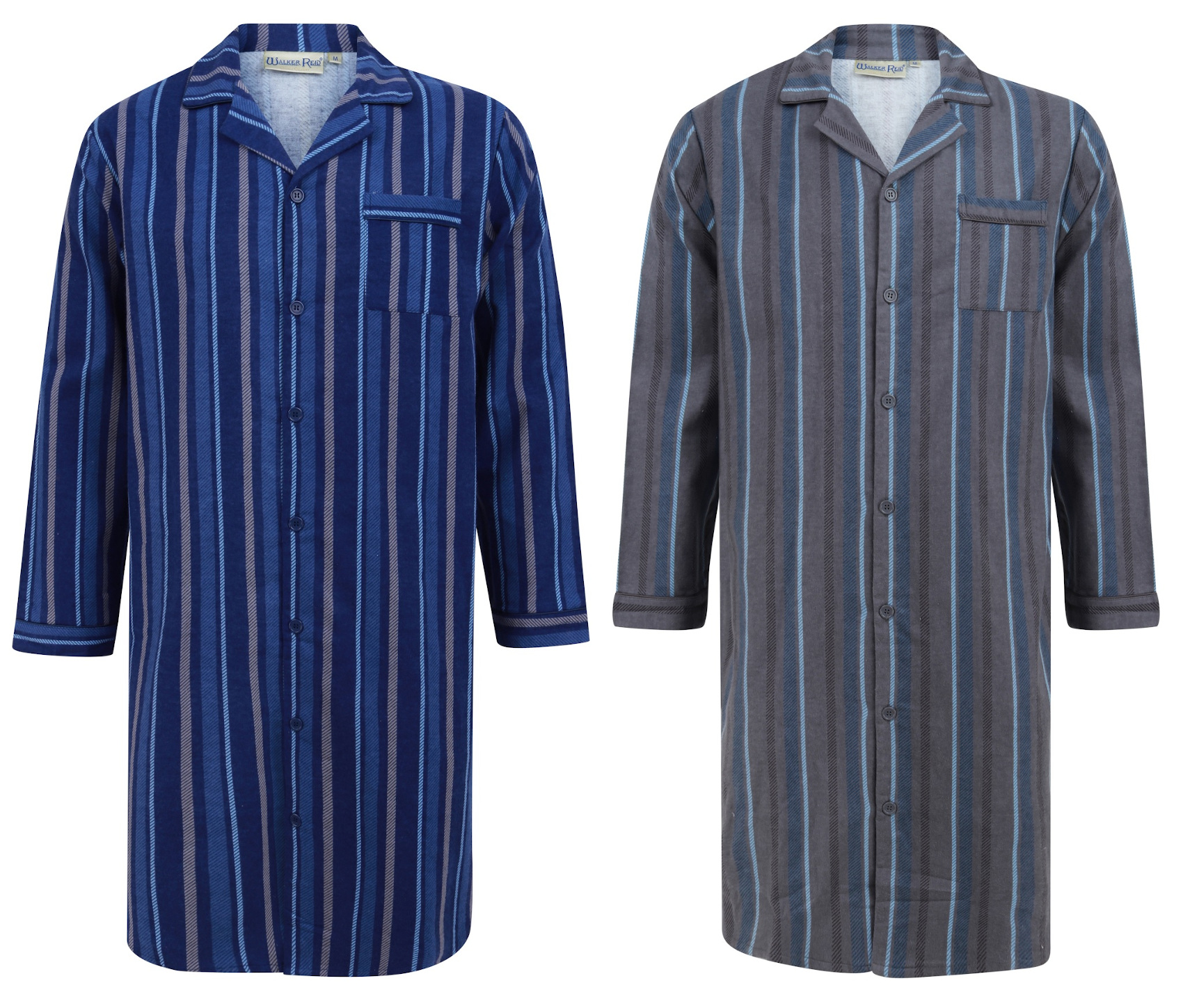 Walker Reid Mens Soft Cotton Button Up Collared Traditional Striped Nightshirt