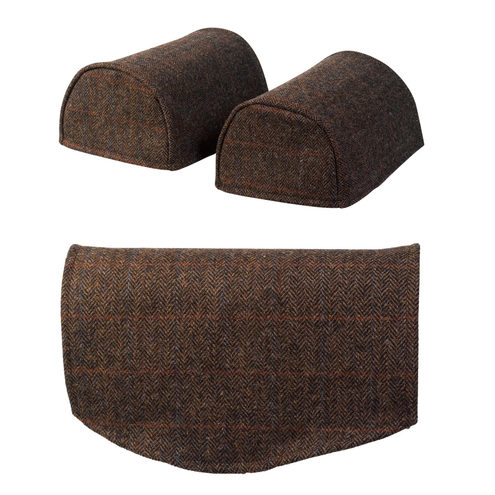 sold as a pair Harris Tweed Antimacassar Wick Herringbone Barley Arm Caps