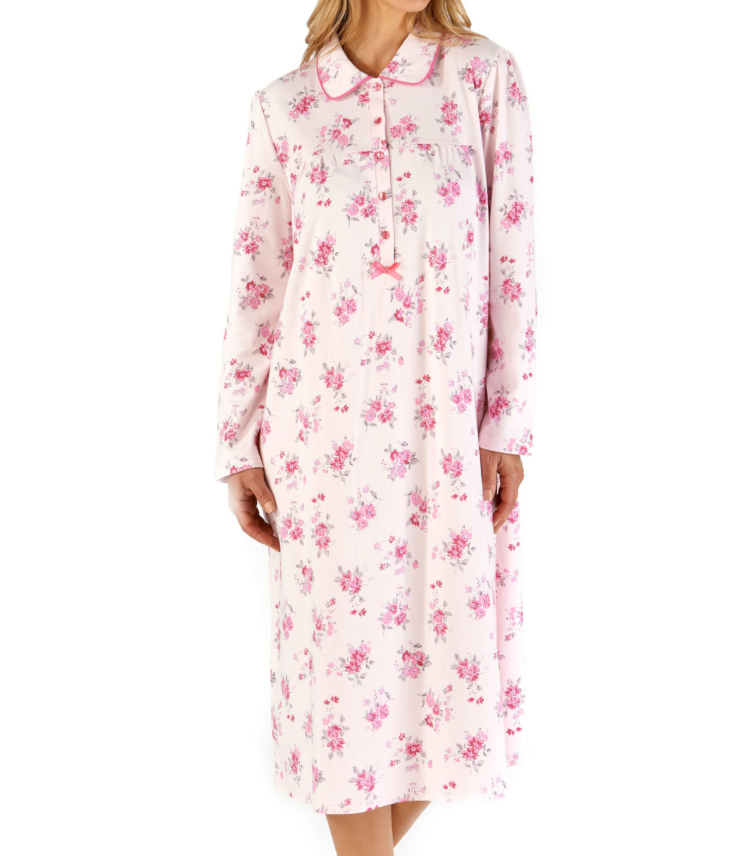 Ladies Slenderella Cotton Classic Floral Long Sleeve Jersey Nightie Nightdress