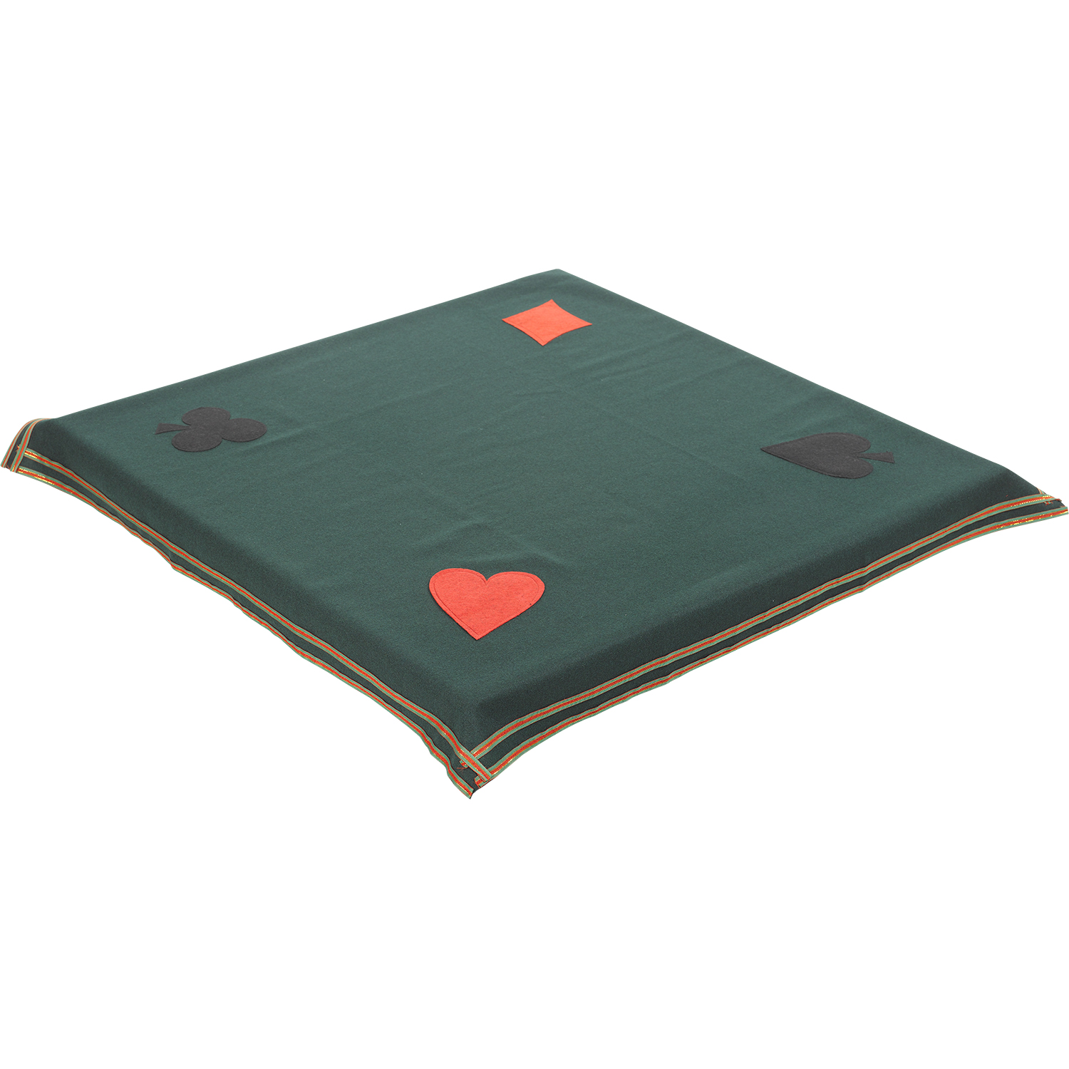 This Gaming Table Cloth Is Green With A Red And Gold Striped Edge And A  Heart, Club, Diamond Or Spade In Each Corner. Perfect For Card Games Such  As Bridge ...
