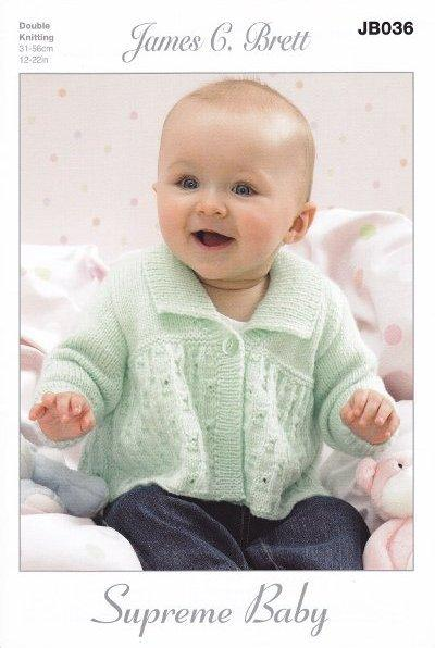 05effbbae139 Baby DK Double Knitting Pattern Cardigans Hat   Scarf James Brett ...