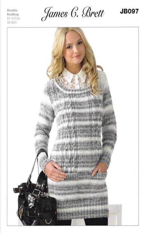 para Mujer Patrón de doble punto suéter punto doble de ochos James ...