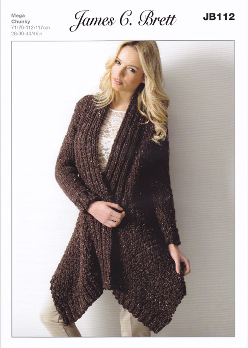 Rustic Mega Chunky Knitting Pattern Ladies Long Cardigan James C ...