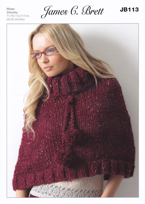 James Brett Chunky Knitting Pattern Ladies Roll Neck Poncho Sweater