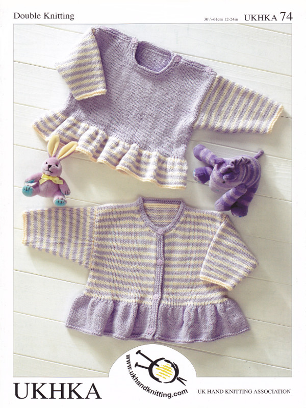 Baby Dk Double Knitting Pattern Childrens Striped Frill Cardigan