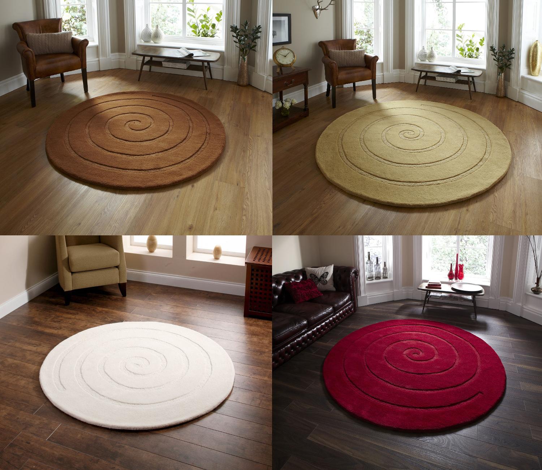 Hand Tufted 100 Wool Round Spiral Rug Modern Circular Mat Stylish Centre Piece