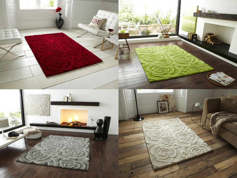 Floral design hand tufted 100 wool rug large 3d rose for 100 floors valentines floor 9