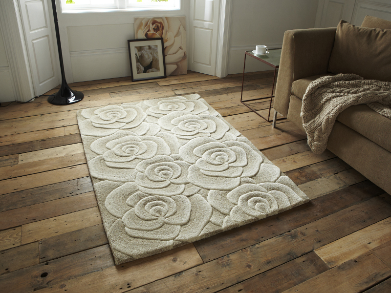 Fl Design Hand Tufted 100 Wool Rug Large Rose Flower Effect