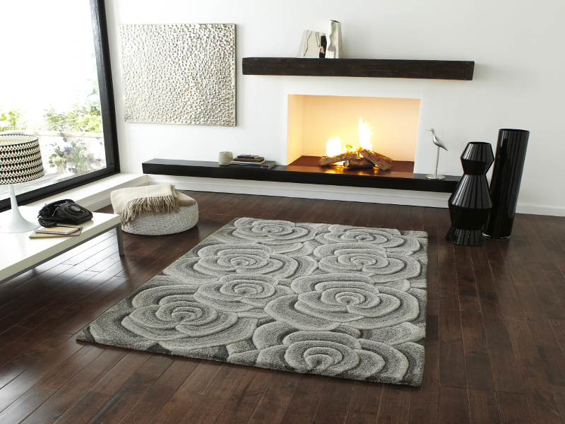 Hand Tufted Soft 100 Wool Fl Carpet Rug Rose Design Stylish Centre Piece Picture 2 Of 4