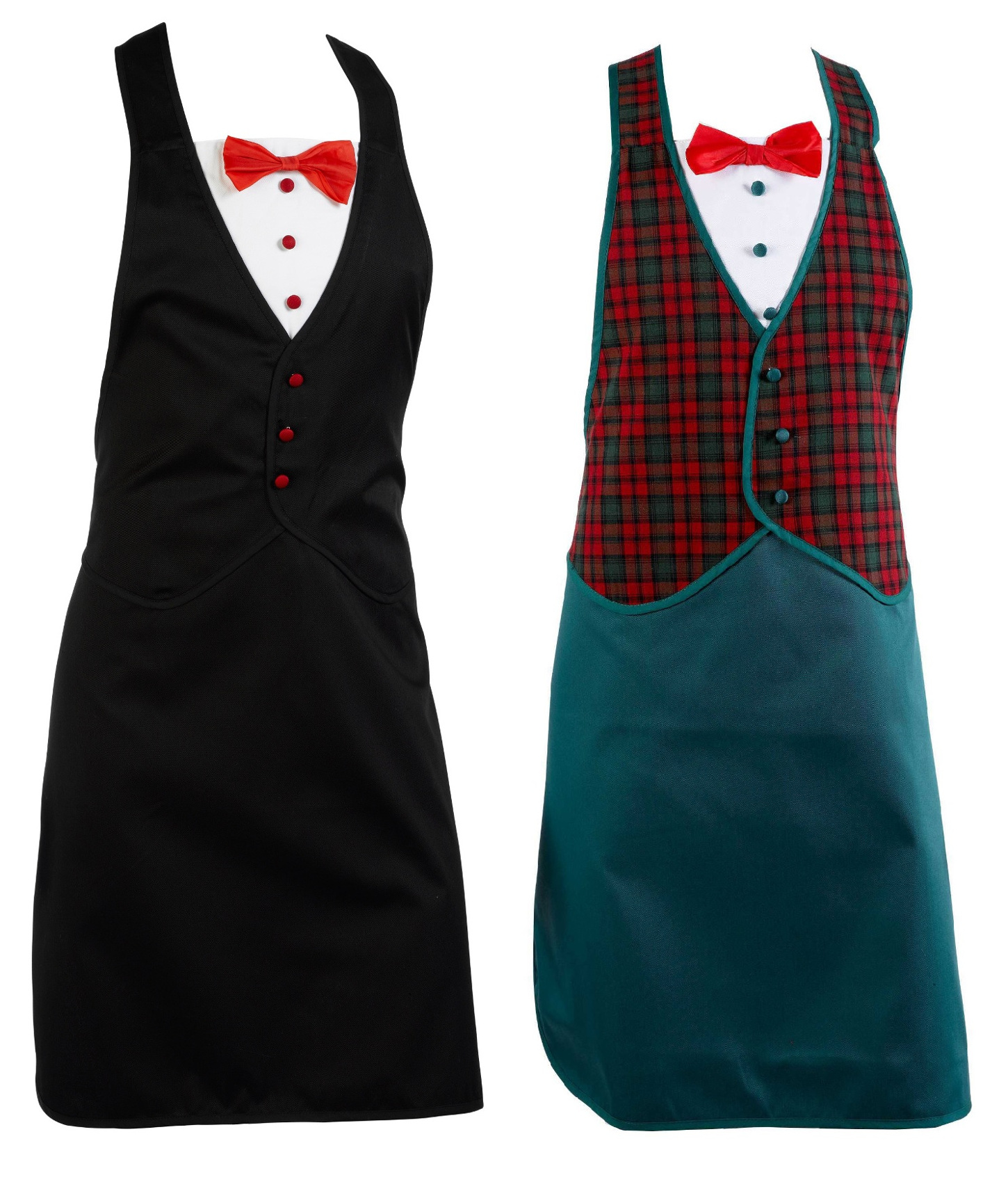 Novelty Tartan Or Black Tuxedo Style Kitchen Apron Fun Cooking Barbeque  Chefs