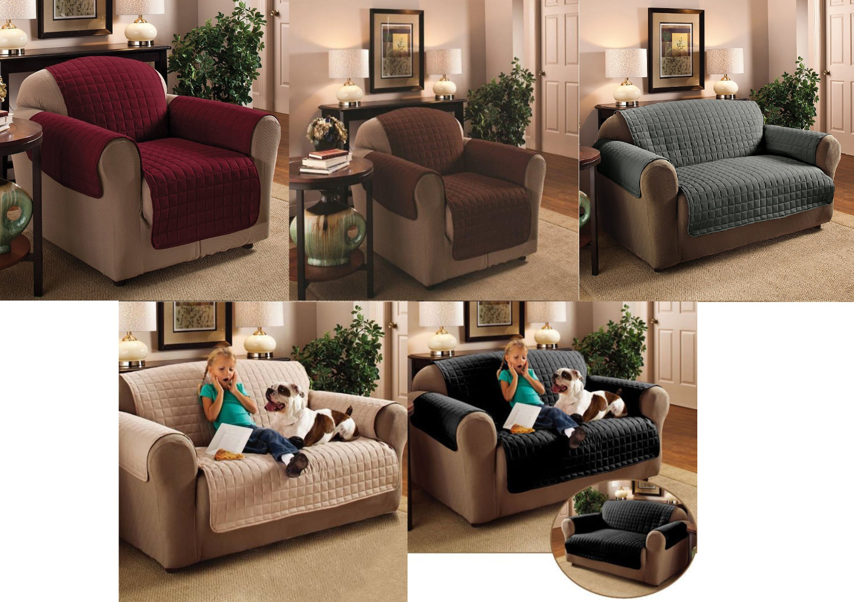 Quilted Microfibre Furniture Protector Soil Snag Resistant Sofa Cover 1 2 3  Seat