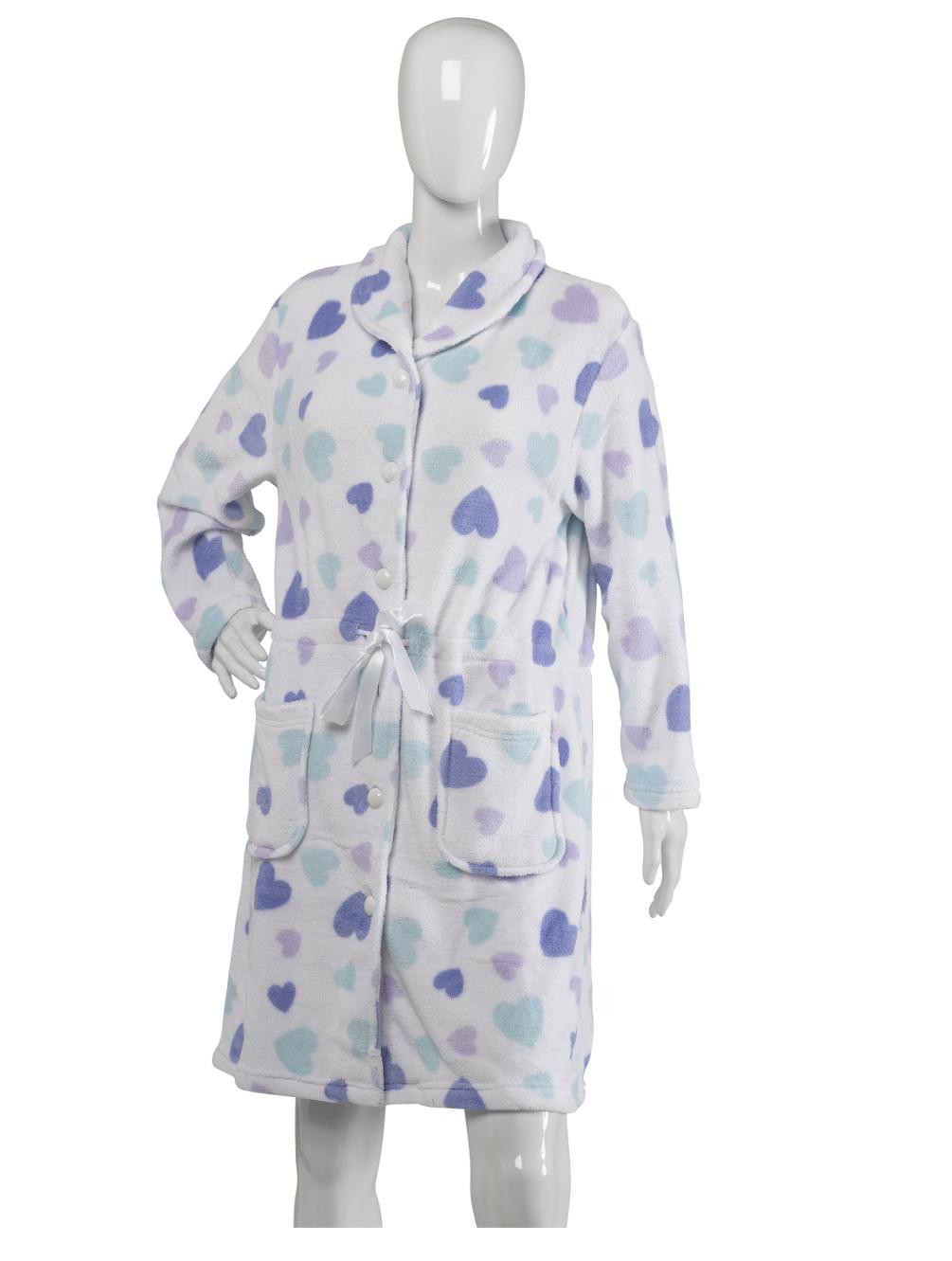 Slenderella Heart Pattern Button Up Bath Robe Ladies Soft Fleece ...