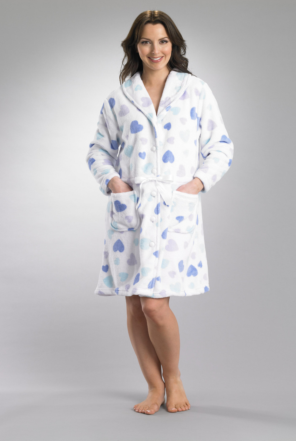 Slenderella Heart Pattern Button Up Bath Robe Ladies Soft Fleece