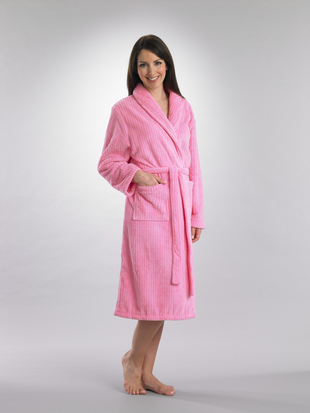 91d53813a761e These luxurious ladies dressing gowns have a ribbed striped pattern  throughout
