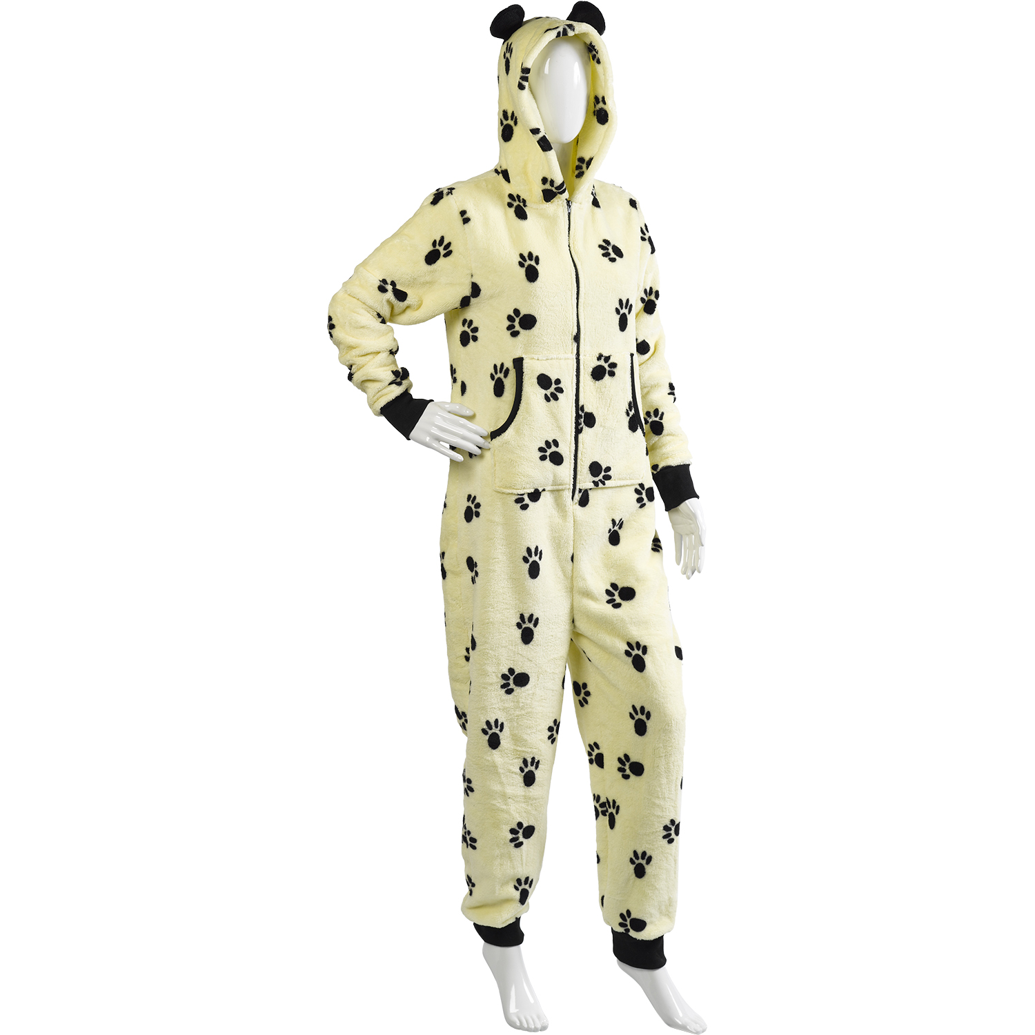 04a126f113 Details about Slenderella Footless Jumpsuit Ladies Soft Fleece Tiger Dog  Paw Print All In One