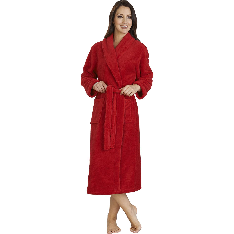 Ladies Soft Coral Fleece Plain Dressing Gown Shawl Collar Wrap Bathrobe Pockets