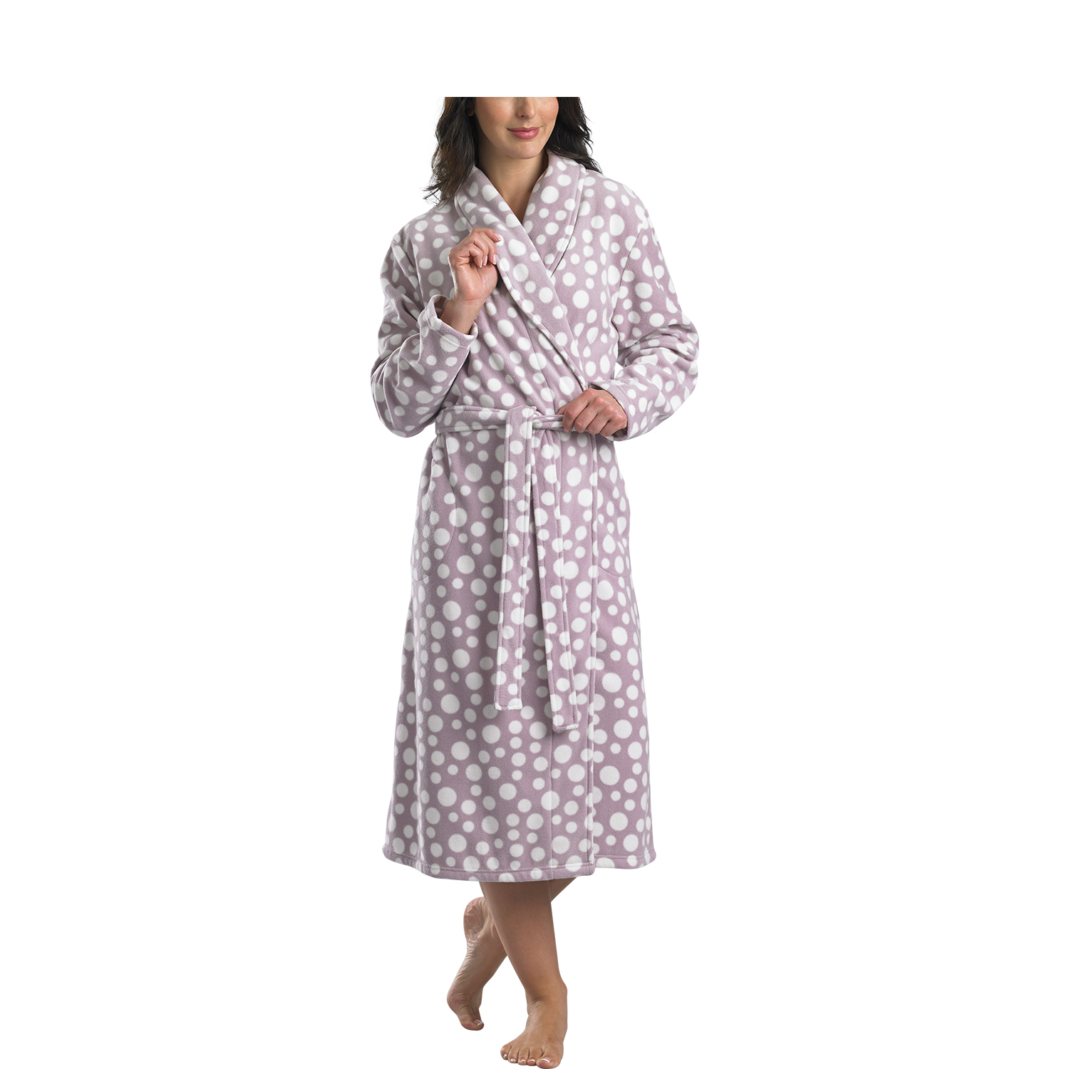 e1d12df7ea These luxurious ladies wrap around dressing gowns have a polka dot pattern  throughout