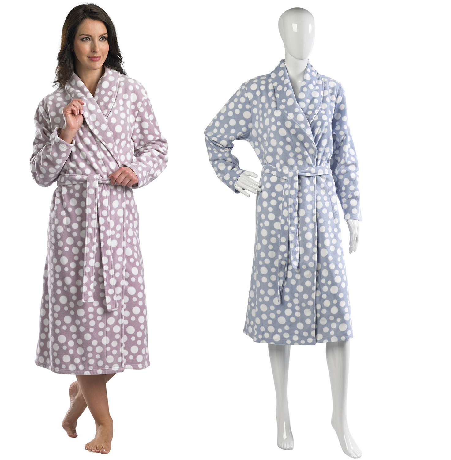 Slenderella Polar Fleece Dressing Gown Ladies Wrap Around Polka Dot ...