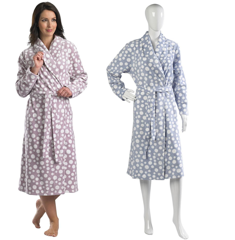 Slenderella Polar Fleece Dressing Gown Ladies Wrap Around Polka Dot Print  Robe 8a97c16997d9