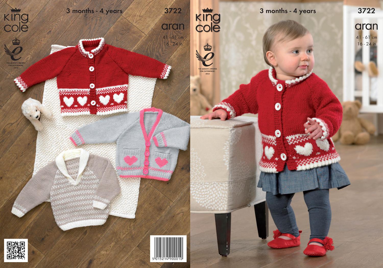 Baby Aran Knitting Pattern King Cole Kids Patterned Cardigan Sweater ...