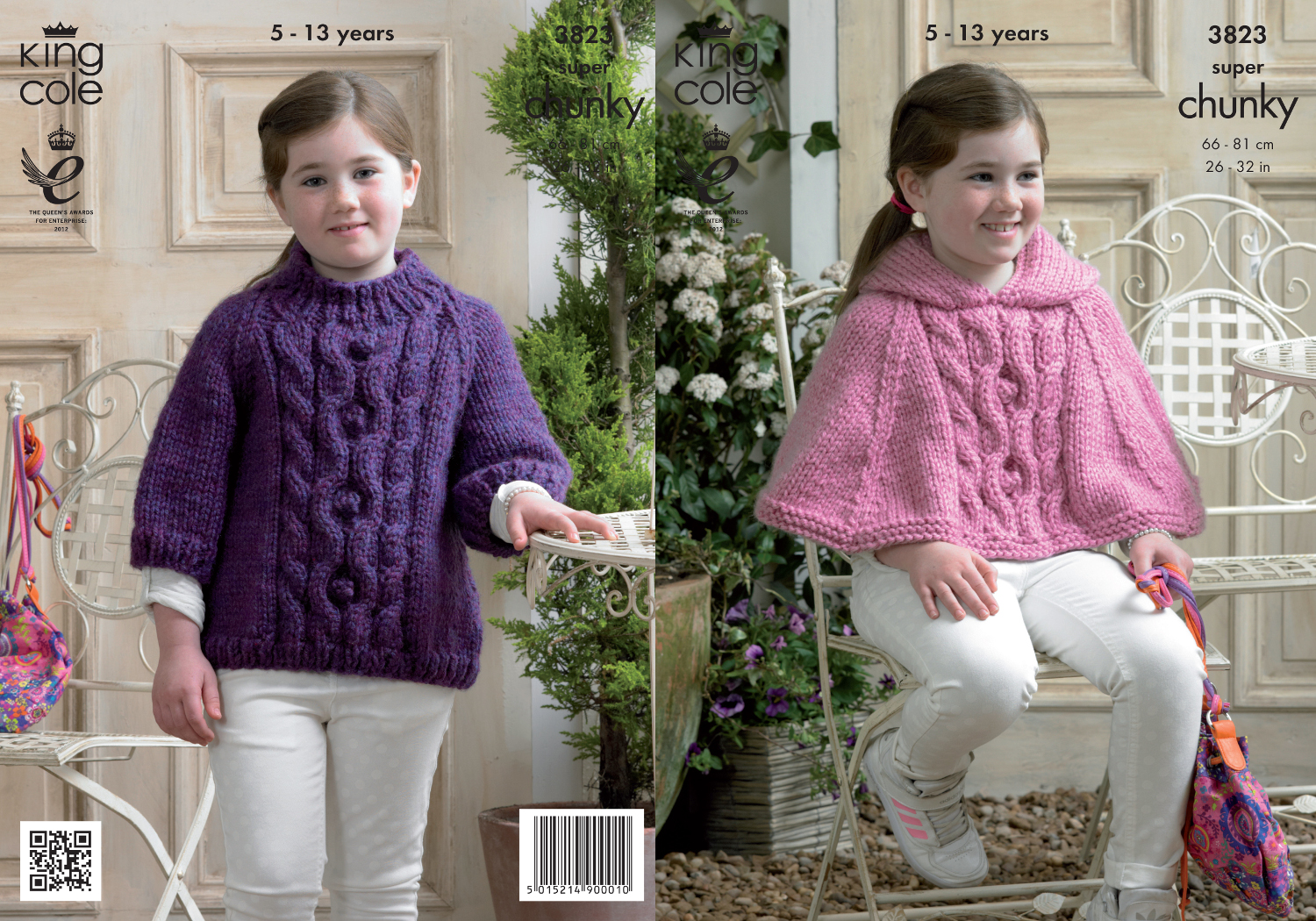 King Cole Girls Super Chunky Knitting Pattern Cable Knit Hooded Cape ...