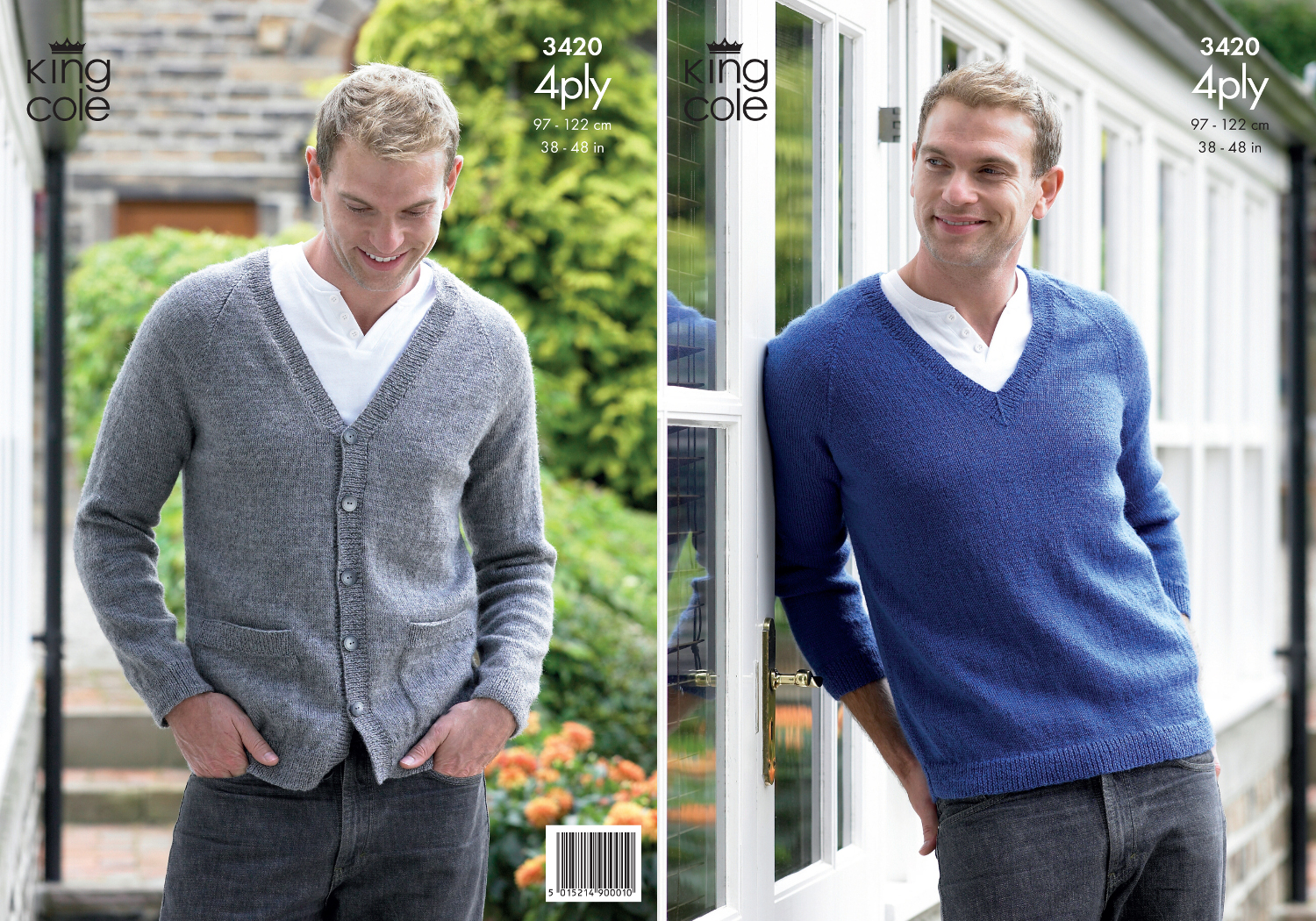 King Cole Mens Knitting Pattern Big Value 4 Ply V Neck Sweater ...