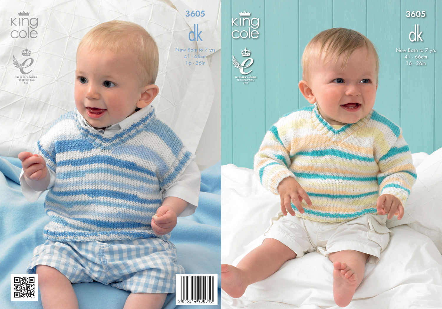 816c9507b King Cole Baby Double Knitting DK Pattern Striped V Neck Sweater Tank Top  3605