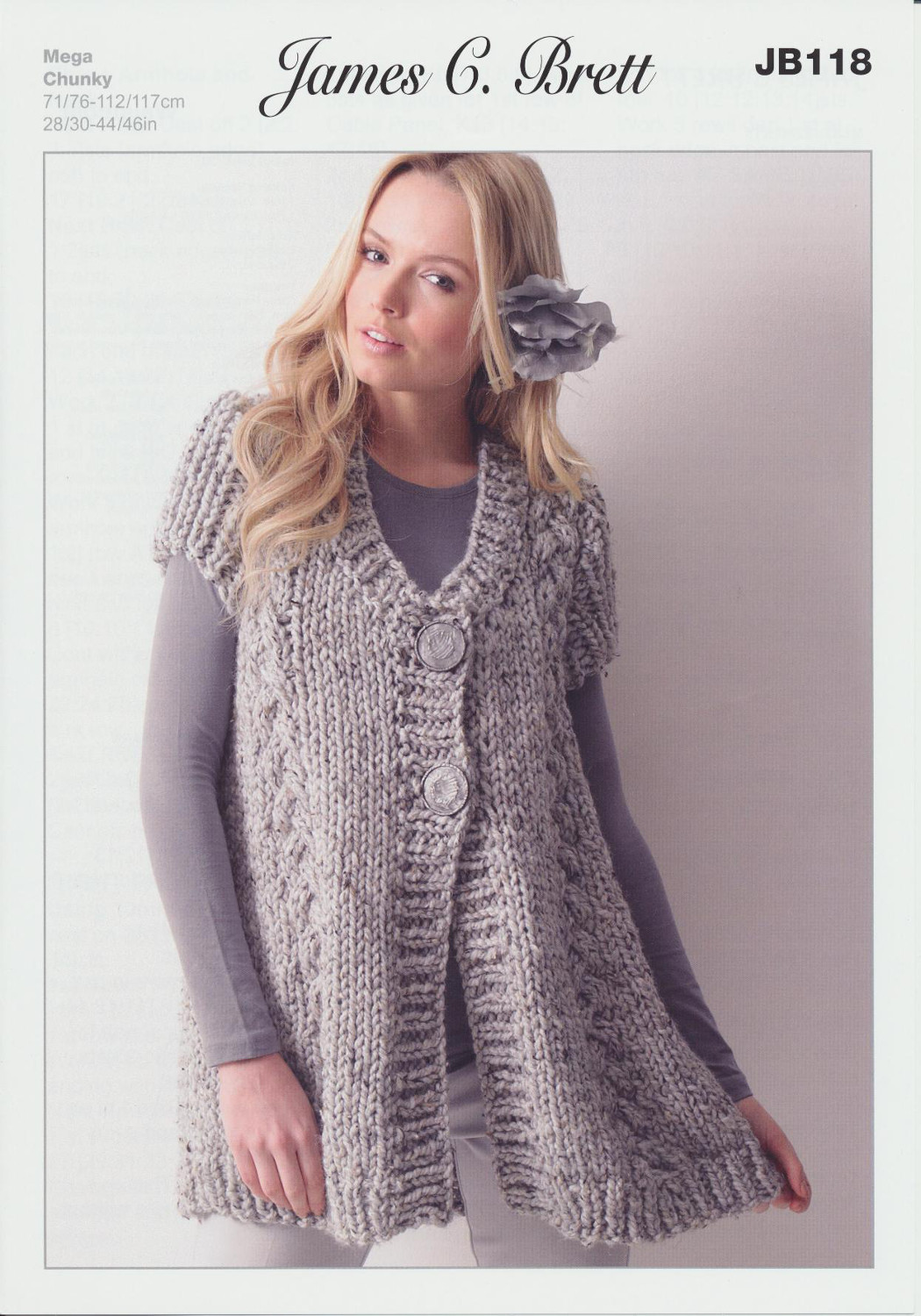 Mega chunky knitting pattern womens thick cable knit waistcoat please look at images below for the chart showing measurements yarn and materials requirement to make this garment bankloansurffo Gallery
