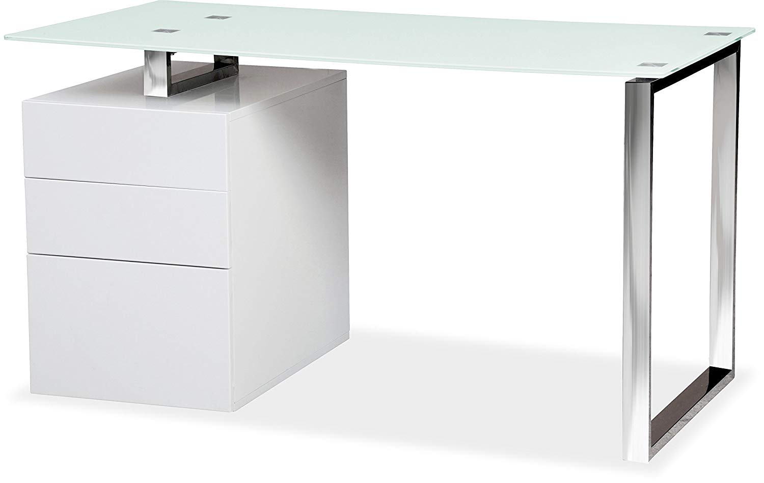 Sentinel Centurion Supports Calista Gloss White With Chrome Legs 3 Drawer Computer Desk